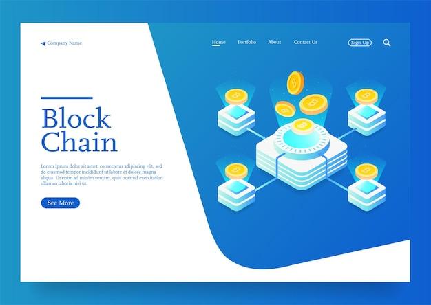 Fondo di concetto di blockchain isometrica di vettore con blocchi e monete