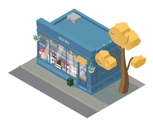 Costruzione del negozio di libri isometrica di vettore. vetrina con i libri.