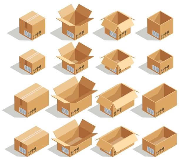 Vector scatole di cartone isometriche