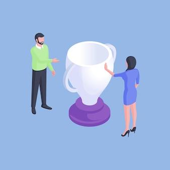 Disegno isometrico di vettore di lavoratori formali maschi e femmine che offrono tazza premio bianco a vicenda isolato su priorità bassa blu