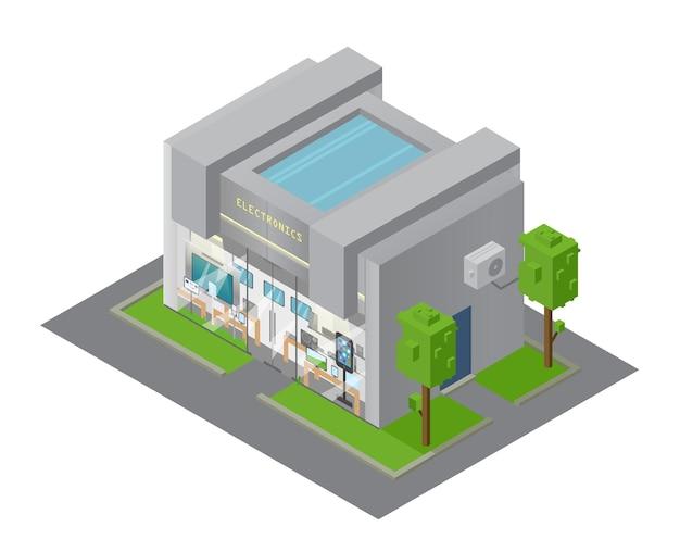 Costruzione del negozio di elettronica isometrica di vettore. vetrina con i dispositivi.
