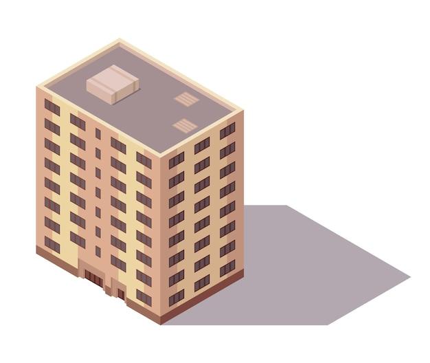 Vettore isometrica grattacielo. elemento di costruzione della mappa della città o della città