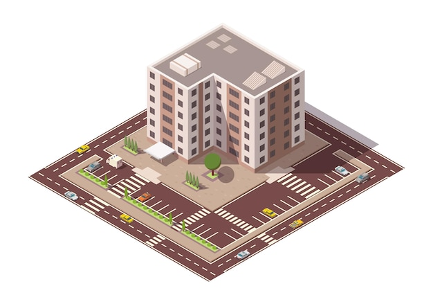 Vettore isometrico grattacielo ed elementi stradali con posto per il parcheggio. mappa della città o della città