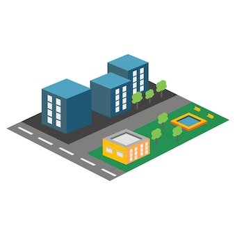 Icona isometrica vettoriale o elemento infografico che rappresenta l'area residenziale della città