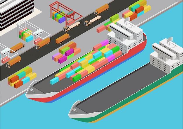 Icona isometrica di vettore che rappresenta il porto mercantile