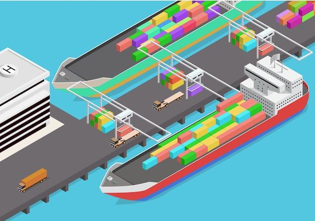 Icona isometrica di vettore che rappresenta il porto mercantile Vettore Premium