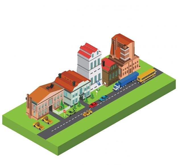 Elementi infographic di vettore isometrico con strade della città