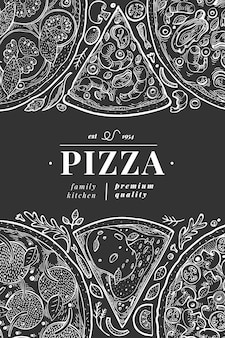 Modello di copertina di poster o menu di pizza italiana di vettore. illustrazione d'annata disegnata a mano sul bordo di gesso. food design italiano.