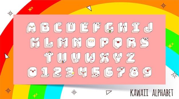 Carattere kawaii vettoriale e alfabeto con diverse emozioni.