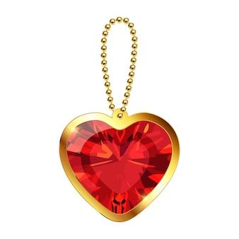 Portachiavi vettoriale con ciondolo a cuore su una catena d'oro pietra preziosa di rubino rosso collana o braccialetto d'oro