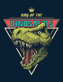 Vettore re dei dinosauri grafico con trex.