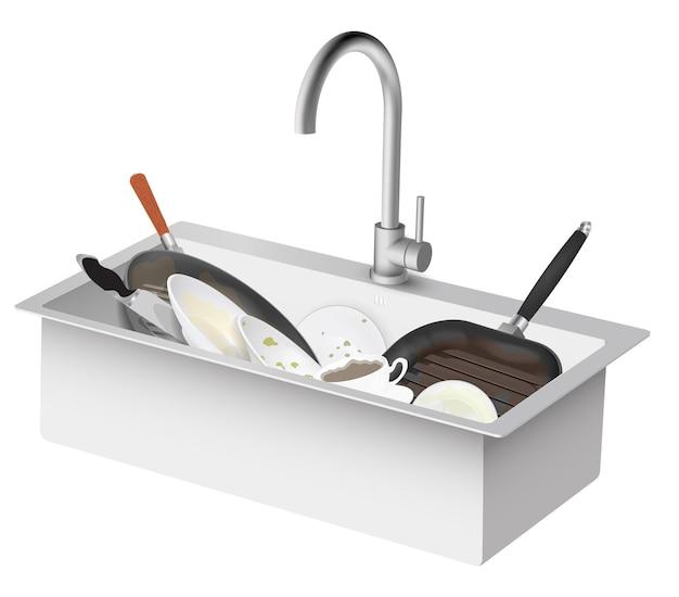 Lavello da cucina vettoriale con piatti sporchi
