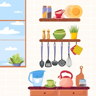 Utensili da cucina vettoriali cucina camera set di accessori da cucina sugli scaffali