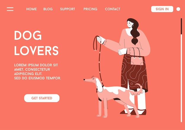 Pagina di destinazione di vettore del concetto di amanti dei cani