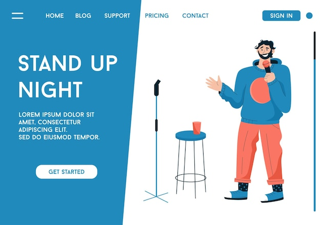 Pagina di destinazione di vettore del concetto di stand up night