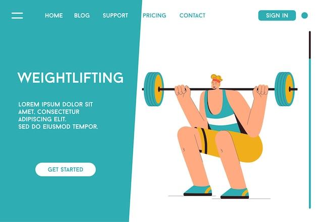 Pagina di destinazione di vettore del concetto di sollevamento pesi