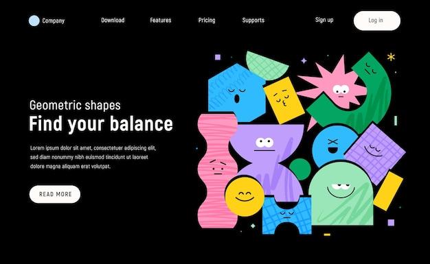 Pagina di destinazione vettoriale con figure geometriche dei personaggi su sfondo nero