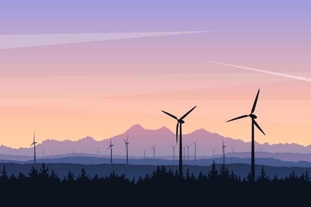 Illustrazione del paesaggio vettoriale con turbine eoliche al tramonto potere verde della futura energia sostenibile