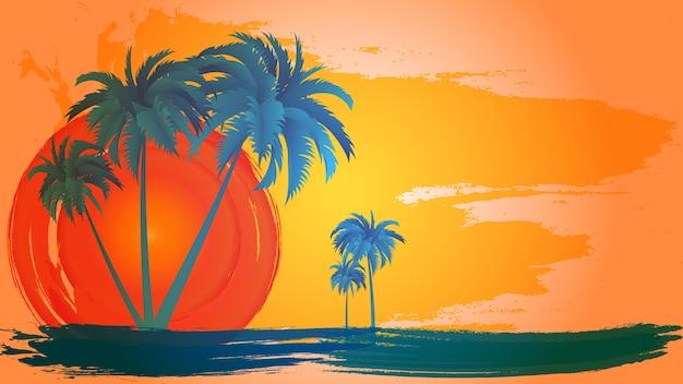 Paesaggio di vettore delle palme sopra il cielo e il sole.