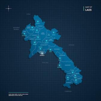 Illustrazione di mappa laos vettoriale con punti luce al neon blu