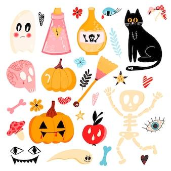Grande set vettoriale di adesivi di halloween con zucche teschio scheletro occhio gatto nero e altro