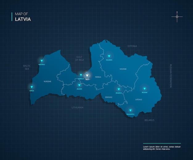 Illustrazione di mappa lettonia vettoriale con punti luce al neon blu