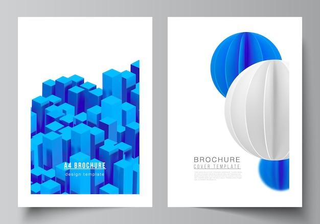 Layout vettoriale di modelli di prototipi di copertina a4 per brochure, layout di volantini, opuscoli, design di copertine, design di libri. 3d rendono la composizione vettoriale con forme blu geometriche realistiche dinamiche in movimento.