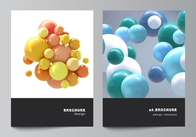 Layout vettoriale di modelli di mockup di copertina a4 per brochure