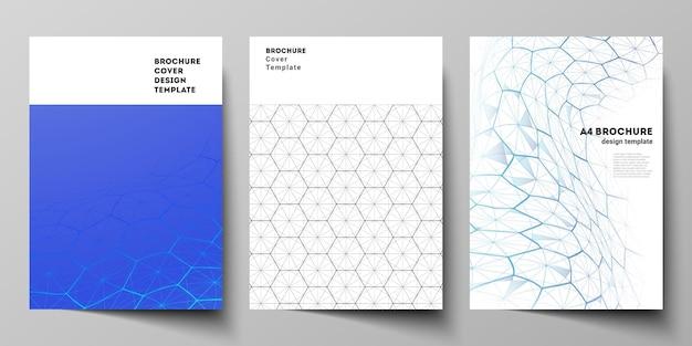 Layout vettoriale di modelli di progettazione di modelli di copertina in formato a4 per brochure, flyer. tecnologia digitale e concetto di big data con esagoni, punti e linee di collegamento, sfondo medico scientifico poligonale.