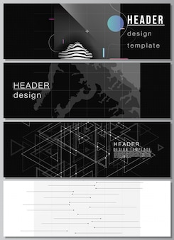 Layout vettoriale di intestazioni, modelli di design banner per il design del piè di pagina del sito web, design di volantini orizzontali. fondo astratto di scienza di colore nero di tecnologia. visualizzazione dei dati digitali. concetto di alta tecnologia.