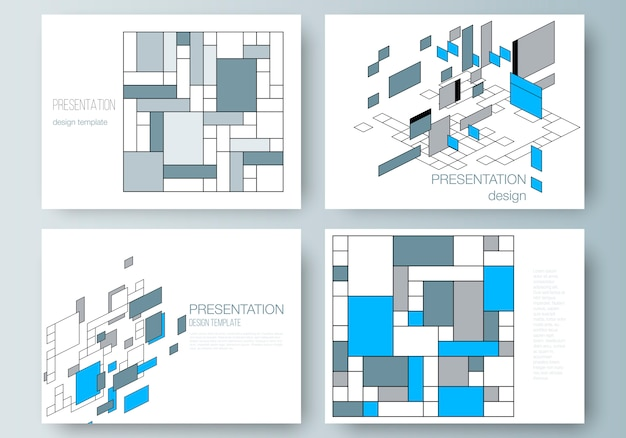La disposizione di vettore della presentazione fa scorrere i modelli di affari, fondo poligonale astratto Vettore Premium