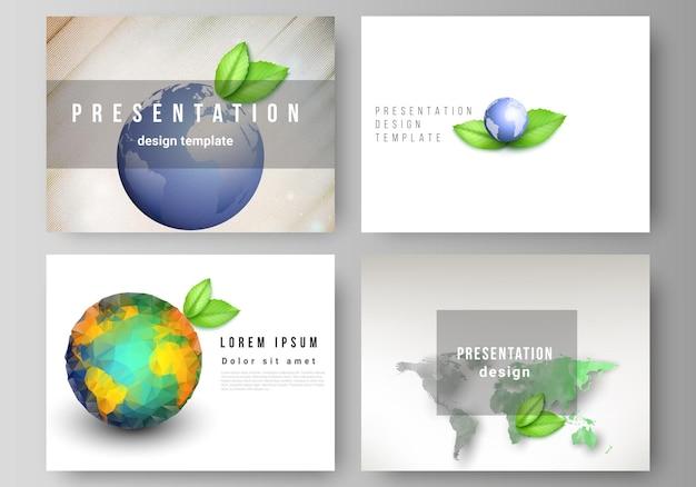 Layout vettoriale delle diapositive di presentazione progettano modelli di business, modello multiuso per brochure di presentazione, copertina di brochure. salva il concetto di pianeta terra. concetto globale di sviluppo sostenibile.
