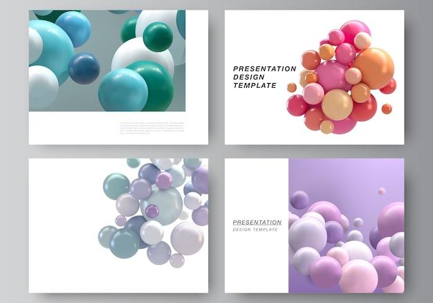 Layout vettoriale dei modelli di progettazione di diapositive di presentazione, modello multiuso per brochure di presentazione, report aziendale.