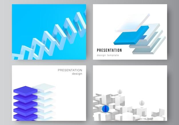 Layout vettoriale di modelli di progettazione di diapositive di presentazione, modello per brochure di presentazione, copertina di brochure, relazione aziendale. 3d rendono la composizione vettoriale con forme geometriche blu dinamiche in movimento.