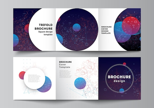 Layout vettoriale di modelli di copertine quadrate per brochure a tre ante, design di copertine per volantini, design di libri, opuscoli...