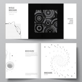 Layout vettoriale di due modelli di copertine per brochure quadrate bifold brochure design copertina libro design broc