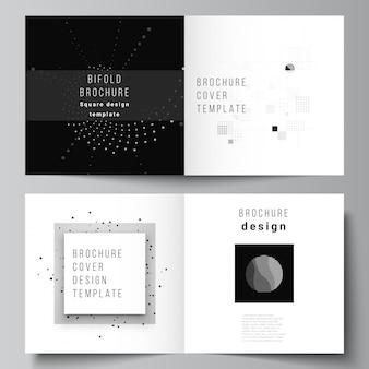 Layout vettoriale di due modelli di copertine per copertina quadrata bifold brochure flyer design book design copertina brochure abstract tecnologia colore nero scienza sfondo visualizzazione dati digitali