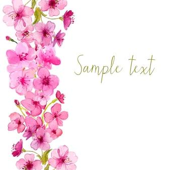 Disposizione di vettore con il fiore di sakura dell'acquerello. sfondo floreale vettoriale.