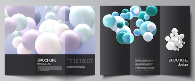 Layout vettoriali di modelli di design di copertine per brochure a tre ante, layout flyer. Vettore Premium