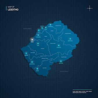 Illustrazione di mappa lesotho di vettore con punti luce al neon blu