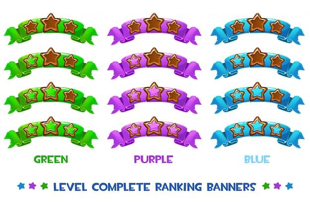 Banner di classifica completa livello vettoriale con stelle in legno su nastro colorato