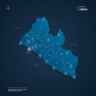Illustrazione della mappa della liberia di vettore con i punti luce al neon blu
