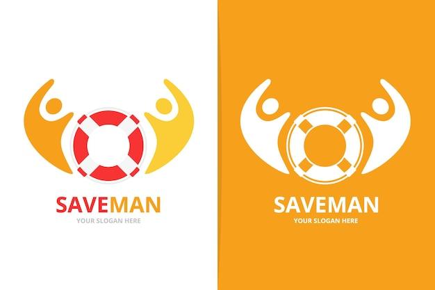 Salvagente vettoriale e combinazione di logo delle persone scialuppa di salvataggio unica e modello di progettazione del logo della squadra di aiuto