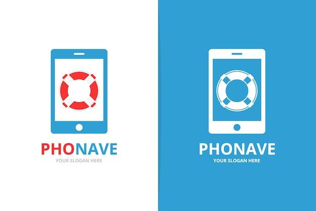 Combinazione di salvagente vettoriale e logo del telefono simbolo della cintura di salvataggio logotipo unico di scialuppa di salvataggio e dispositivo