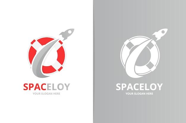 Combinazione di logo vettoriale salvagente e razzo. modello unico di progettazione del logotipo di scialuppa di salvataggio e volo.