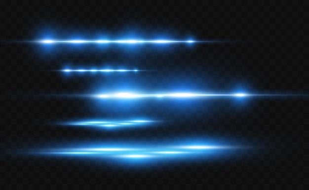 Effetto speciale azzurro vettoriale strisce luminose incandescenti su uno sfondo trasparente