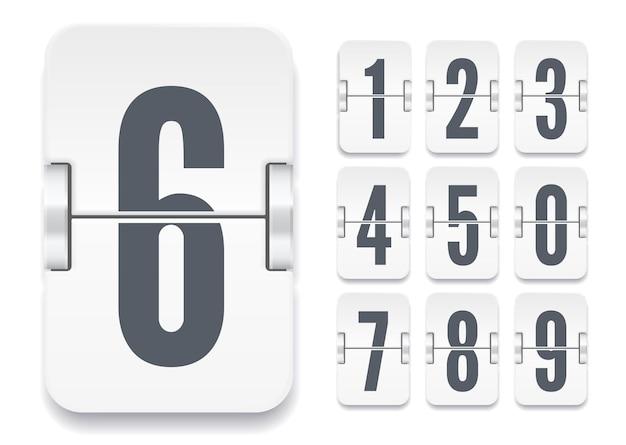 Modello di tabellone segnapunti a vibrazione vettoriale con numeri e ombre per conto alla rovescia bianco o calendario isolato su priorità bassa bianca.