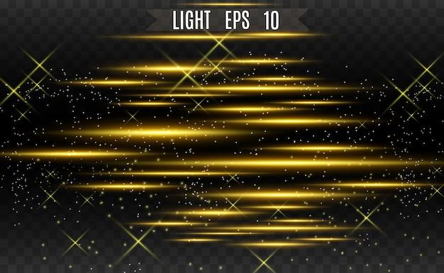 Effetto speciale oro chiaro vettoriale. strisce luminose incandescenti.