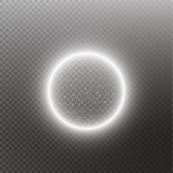 Anello luminoso vettoriale. sfera lucida rotonda con particelle di tracce di polvere di luci isolate. concetto magico