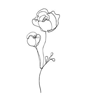 Vettore linea arte fiore penna disegno illustrazione risorsa grafica artwork